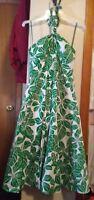 RB Collection Green Print Halter Hawaiian Style Rockabilly Pinup Dress