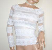 CAMISETA mujer BLANCO underjacket manga larga sueter bordado encaje velado G60