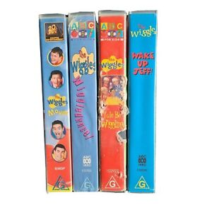 4 x The Original Wiggles VHS Tapes Yule Be Wiggling Wake Up Jeff Wiggledance