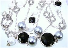 """Peter Thomas Roth Black Onyx Station Sterl Silver Necklace 57""""  104g QVC $604 🌸"""