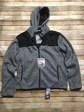 Point Zero Hooded Dry Tech Knit Soft Shell Fleece Jacket Large Black White Zip U