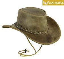 Australian Western Style Crazy Horse Cowboy Real Leather Bush Hat rare colour