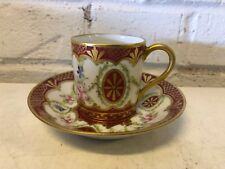 Antique Porcelain Hand Painted Demitasse & Saucer with Floral Red & Gold Dec.