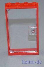 Lego-puerta-marco rojo 1x4x6 con claro-transparentes puerta/60596 60616 Artículo nuevo