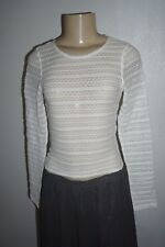 NWT HOLLISTER WOMENS IVORY WHITE SHADY CANYON SLIM LACE CROP TOP BLOUSE LARGE