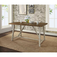 Wood Metal Dining Table Rustic Desk Home Office Distressed Look Vintage Style