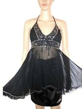 Woman Vtg 90s Black Sheer Lace Halter Beads & Sequin Evening Sexy Top sz M/L AC7