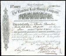 Llanrwst Lead Mining Co. Ltd., North Wales, £2 shares, 1876