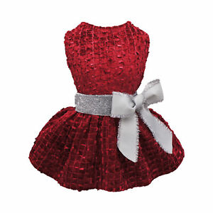 Fitwarm Embroidery Dog Dresses Pet Clothes Prom Dress Cat Party Gown Pink Outfit