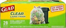 Glad Large Recycling Drawstring Trash Bags, 30 Gallon, Clear 28 ea