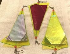 """3 New Triangle Fishing/Trolling Flashers. 8"""" Fish Catching Colors."""