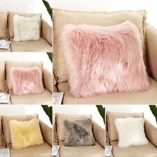 "16"" Soft Fur Plush Square Throw Pillow Cases Home Decor Sofa Waist Cushion Cover"