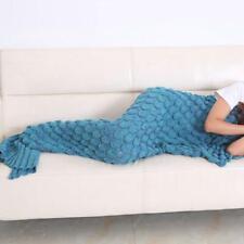 2019 Autumn Yarn Knitted Mermaid Tail Blanket Handmade Crochet Kids Throw Bed Wrap Super Soft Sleeping Bag Family Look 140*70cm Mother & Kids