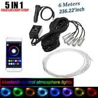 5Pcs LED Car Interior Fiber Optic Neon EL Wire Strip Light Atmosphere 6M RGB APP