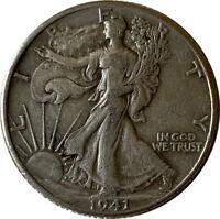 1941 Silver Walking Liberty Half Dollar Grading VF/XF