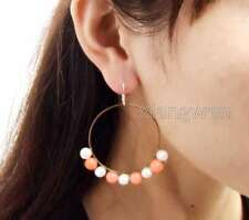 with 40mm metal Ring 2'' Earring-ear603 Fashion 6-7mm White Pearl and Red Coral