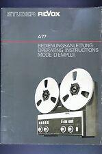 STUDER REVOX A77 Original Tonbandmaschine Bedienungsanleitung/User Manual! Top
