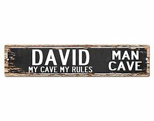 SPMC0006 DAVID MAN CAVE Rules Street Chic Sign Home man cave Decor Gift