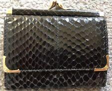 VINTAGE GUCCI TRI-FOLD KISS LOCK COIN BLACK SNAKE SKIN WALLET 8b8e09cf0112