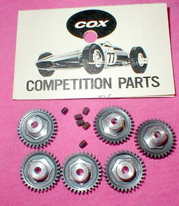 (6) Cox 30 Tooth Spur Gears & Set Screws 48 Pitch Original Vintage Slot Car NOS