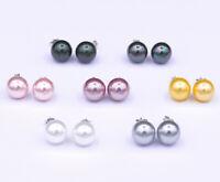 Perlen Ohrstecker Ohrsticks aus echt 925 Sterlingssilber - 8/10/12 mm - 7 Farben