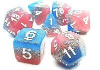RPG Würfel Set 7-teilig Poly DND Rollenspiel Pink W4-W20 Tabletop dice4friends