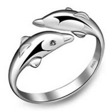 Cute Dolphin Silver Plated Opening Couple Ring Jewelry For Your Lover Hot Sale