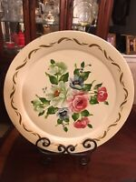 "Large Vintage Toleware Serving Tray Hand Painted Floral Gold Gilt 19"" Round Rare"