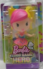 NEW Mattel Barbie Video Game Hero Pink Yellow Junior Haired Doll 2D-Gaming Stand