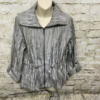 Ruby Rd Womens Size 10 Silver Crinkle Toggle Waist 3/4 Sleeve Zip Up Jacket Z37