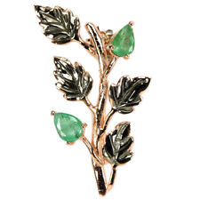 NATURAL AAA GREEN EMERALD COLUMBIAN PEAR STERLING 925 SILVER 2-TONE LEAF BROOCH