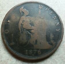 1876H GREAT BRITAIN QUEEN VICTORIA LARGE COPPER PENNY!