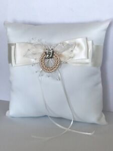 Western Wedding Ring Pillow, Ivory and Silver Tone Cowboy Boot and Lariat