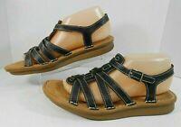 Natural Soul Naturalizer Womens Strappy Sandals Sz 8.5 M Leather Slingback Black
