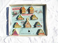 Vintage christmas Santaville light up 9 house plastic set w org box 1950's