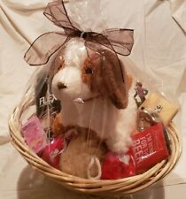 "VALENTINE'S DAY 10"" Plush Dog Beer Bottle Opener Candy Candle Wicker Basket New"