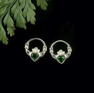 Irish Claddagh Solid Sterling Silver 925 Stud Earrings with Emerald Green Heart