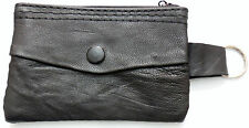 SMALL leather coin wallet or purse with key fob keyring for notes credit card