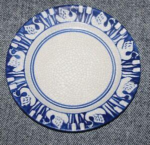 Rare Antique Dedham Pottery Swan & Cattails Plate - 7 3/8 inch