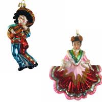 Kurt Adler Glass Mariachi Dancer Ornament Noble Gems Mexican Flolcoriko