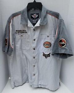 Harley Davidson Motorcycle Shirt Short Sleeve Embroidered XL V-Twin Pockets Oil