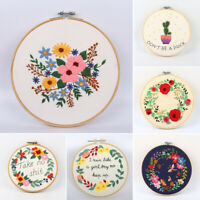 New Embroidery Starter Kit Flower Pattern Needlework DIY Kit Handmade