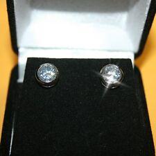 4 Carats Diamond Alternatives 7mm Bezel Stud Earrings White 14k over 925 SS