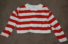 Vintage ESPRIT SPORT Long Sleeve Red & White Striped Crop Top Size S 100% Cotton