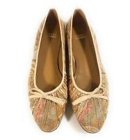 Stuart Weitzman Women Textile Bow Abstract Loafers Flats Slip On Shoes Size 9 M