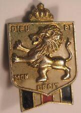 Dieu Et Mon Droit Vintage Screw Back Lapel Pin rampant lion gift