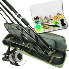 Travel 4pc Rod & Reel Set With Case + Lures & Tackle Sea Pike Spinning Fishing