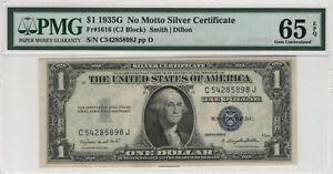 1935 G $1 SILVER CERTIFICATE NO MOTTO FR.1616 PMG CERTIFIED GEM UNC 65 EPQ