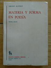 Materia y Forma en Poesia  by Amado Alonso _ Poetic Forms In Spanish 1969