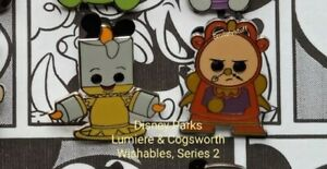 Genuine DISNEY Parks, Lumiere & Cogsworth, WISHABLES Mystery PIN Series 2